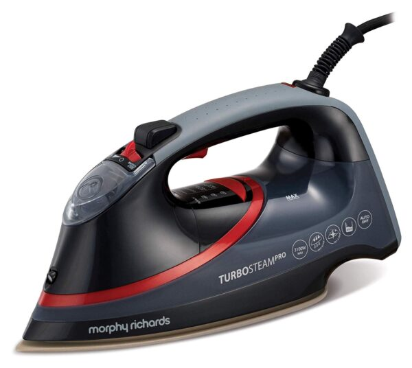 Morphy Richards Turbosteam Pro 3100W Electronic Steam Iron Black & Red – 303125