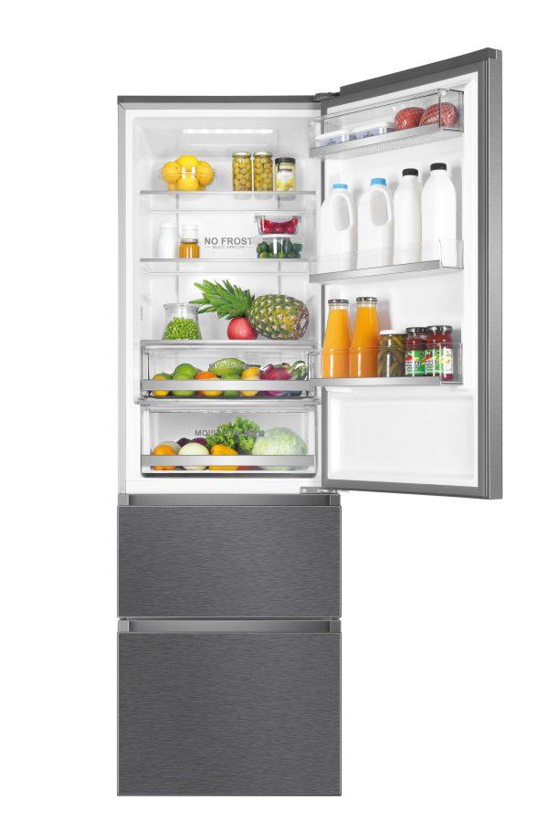 Haier A3FE635CGJE 3 Door Combi 60cm Wide Freestanding Fridge Freezer – Silver