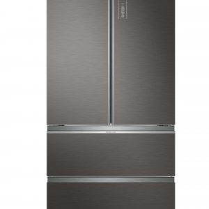 Haier HB18FGSAAA French Door 83cm Wide Freestanding Fridge Freezer - Silver Glass