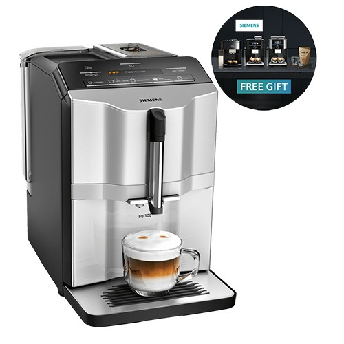Siemens Fully automatic coffee machine, EQ.300 Silver – TI353201GB
