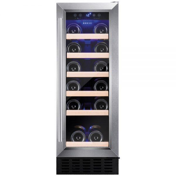 Amica 30 cm Wide Freestanding/Under Counter Slimline Wine Cooler – AWC300SS