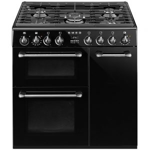 SMEG Dual Fuel Range Cooker 90 cm Black & Stainless Steel – BM93BL