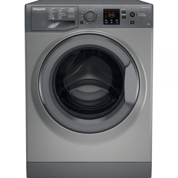 Hotpoint 8kg 1400 spin washing machine graphite NSWM843CGG