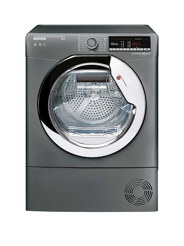 Hoover DXC9TCER Condenser Tumble Dryer, 9kg Load, B Energy Rating, Silver