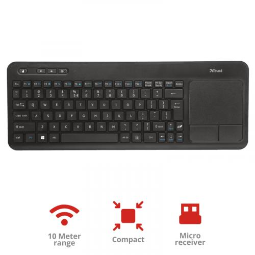Wireless multimedia keyboard with integrated XL touchpad to control your laptop/PC, Smart TV or game console from the comfort of your couch