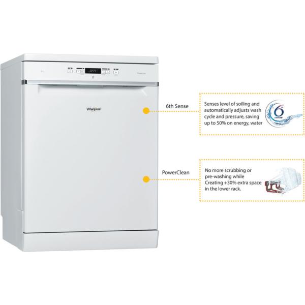Whirlpool 6th Sense Freestanding Dishwasher White WFC3C24P