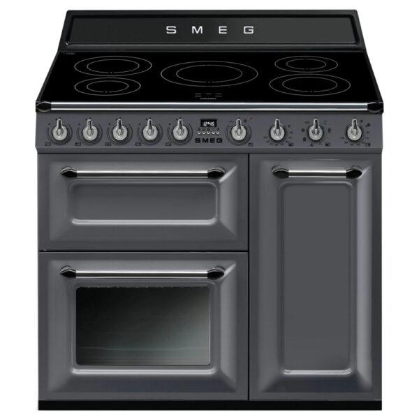 Smeg 90cm Traditional Three Cavity Range Cooker with Induction Hob Slate Grey- TR93IGR