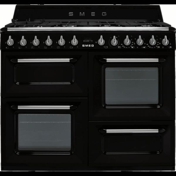 Smeg 110cm Victoria Dual Fuel Range Cooker in Gloss Black – TR4110BL1