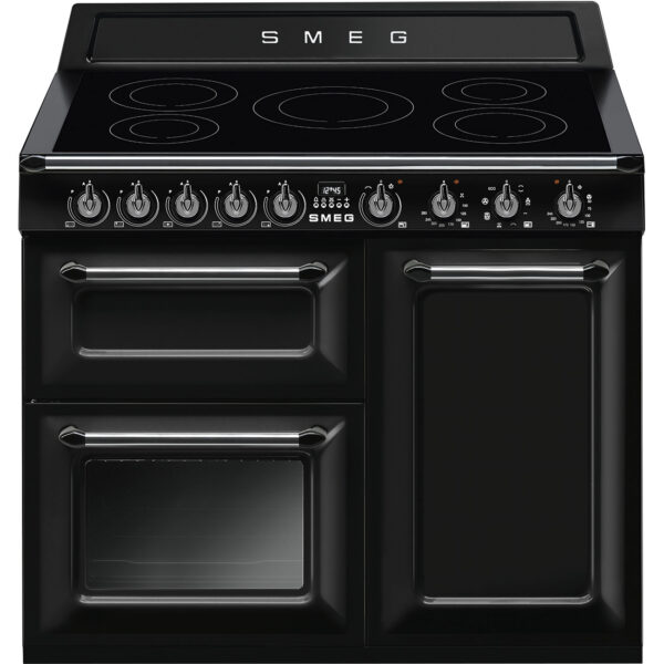 Smeg 100cm Victoria Gloss Three Cavity Traditional Range Cooker with Side Opening Grey - TR103IGR