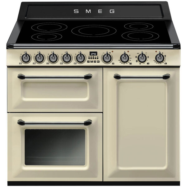 Smeg 100cm Victoria Gloss Three Cavity Traditional Range Cooker with Side Opening Cream - TR103IP