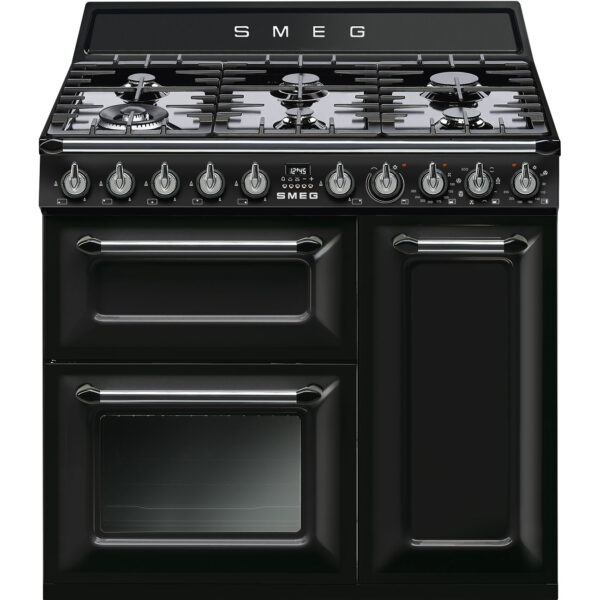 Smeg 90cm Victoria Aesthetic Dual Fuel Three Cavity Traditional Range Cooker with Side Opening Ovens - Black - TR93BL