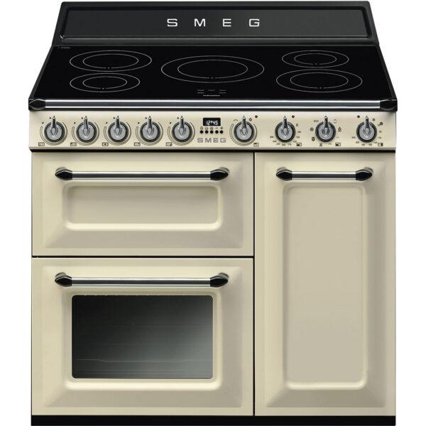 Smeg 90cm Traditional Three Cavity Range Cooker with Induction Hob Cream - TR93IP