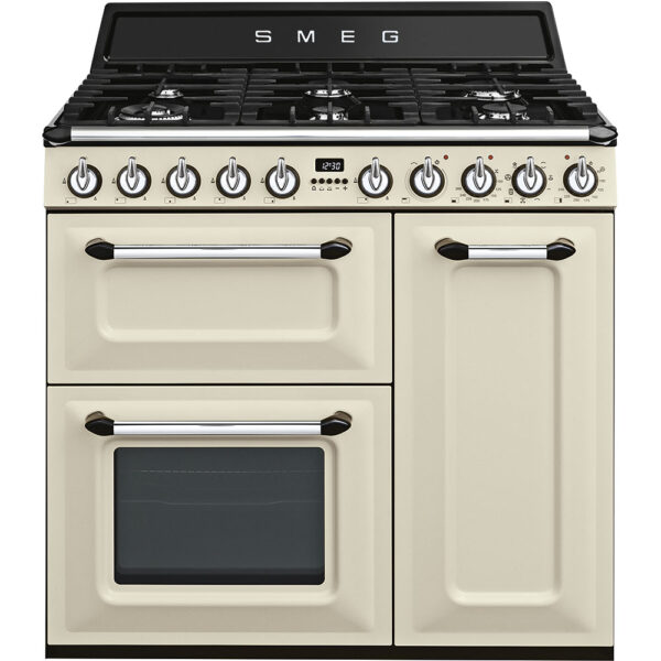 Smeg 90cm Victoria Aesthetic Dual Fuel Three Cavity Traditional Range Cooker with Side Opening Ovens – Cream – TR93P